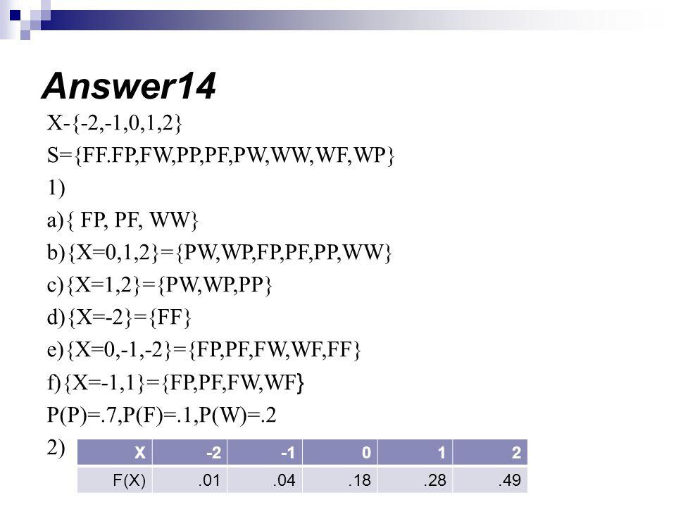 Answer14 X-{-2,-1,0,1,2} S={FF.FP,FW,PP,PF,PW,WW,WF,WP} 1)