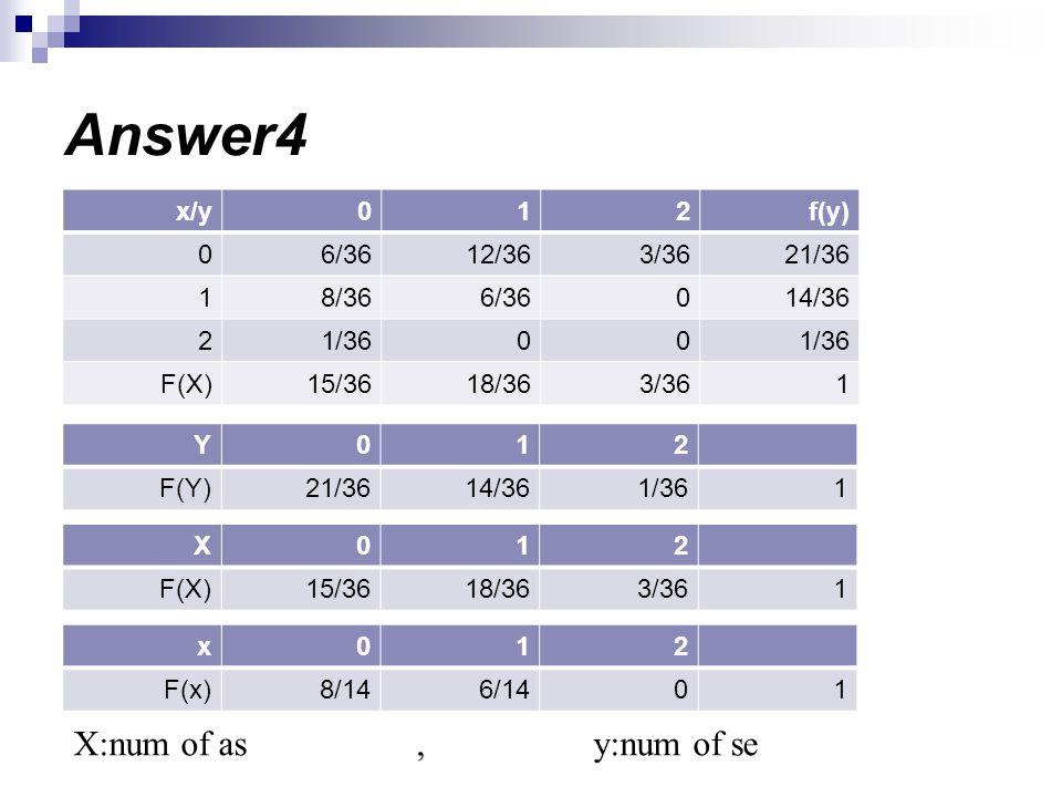 Answer4 X:num of as , y:num of se f(y) 2 1 x/y 21/36 3/36 12/36 6/36