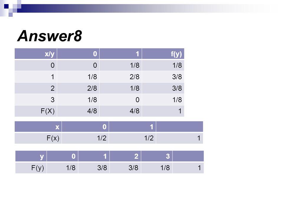 Answer8 f(y) 1 x/y 1/8 3/8 2/8 2 3 4/8 F(X) 1 x 1/2 F(x) 3 2 1 y 1/8