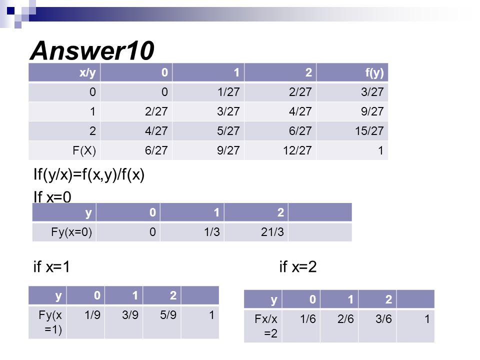 Answer10 If(y/x)=f(x,y)/f(x) If x=0 if x=1 if x=2 f(y) 2 1 x/y 3/27