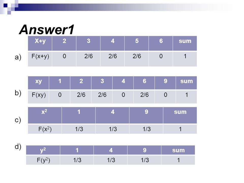 Answer1 a) b) c) d) sum 6 5 4 3 2 X+y 1 2/6 F(x+y) sum 9 6 4 3 2 1 xy