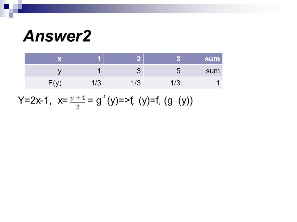 Answer2 Y=2x-1, x= = g (y)=>f (y)=f (g (y)) sum 3 2 1 x 5 y 1/3