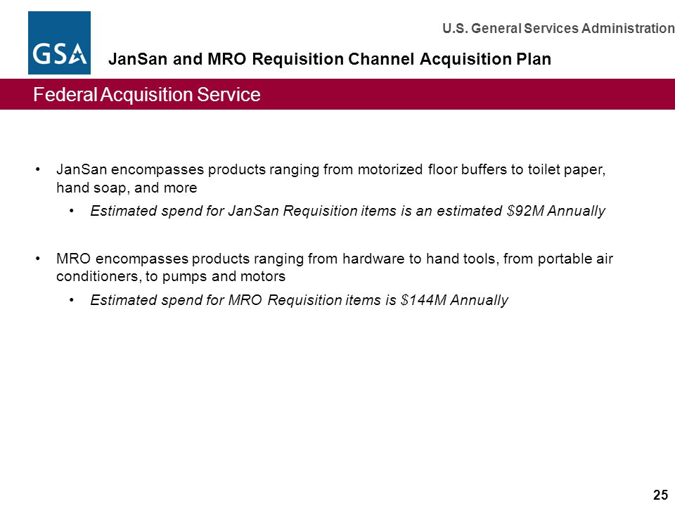JanSan and MRO Requisition Channel Acquisition Plan