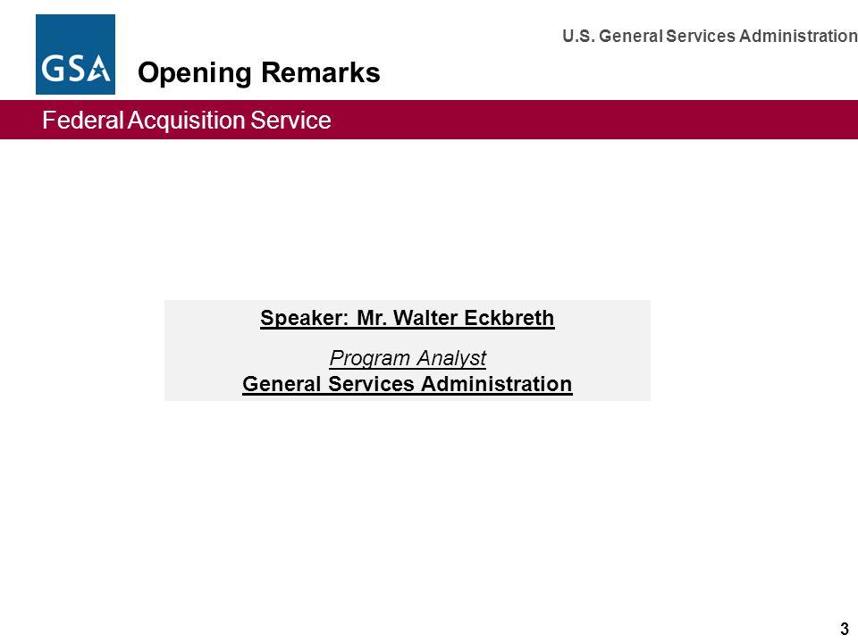Speaker: Mr. Walter Eckbreth