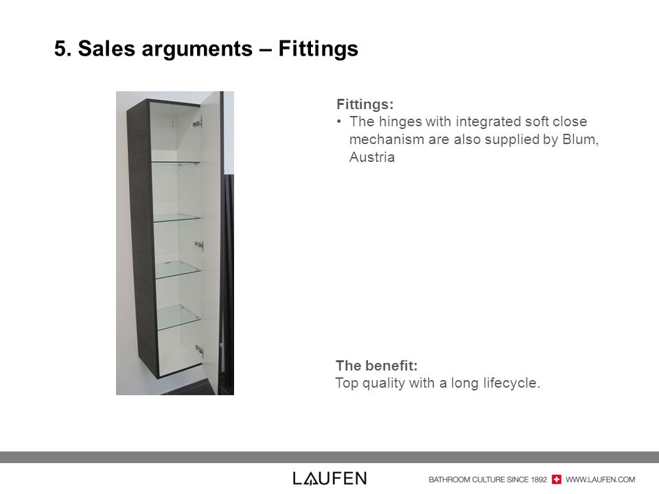 5. Sales arguments – Fittings