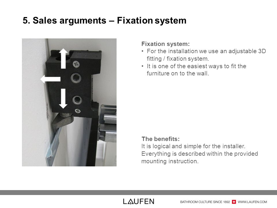 5. Sales arguments – Fixation system