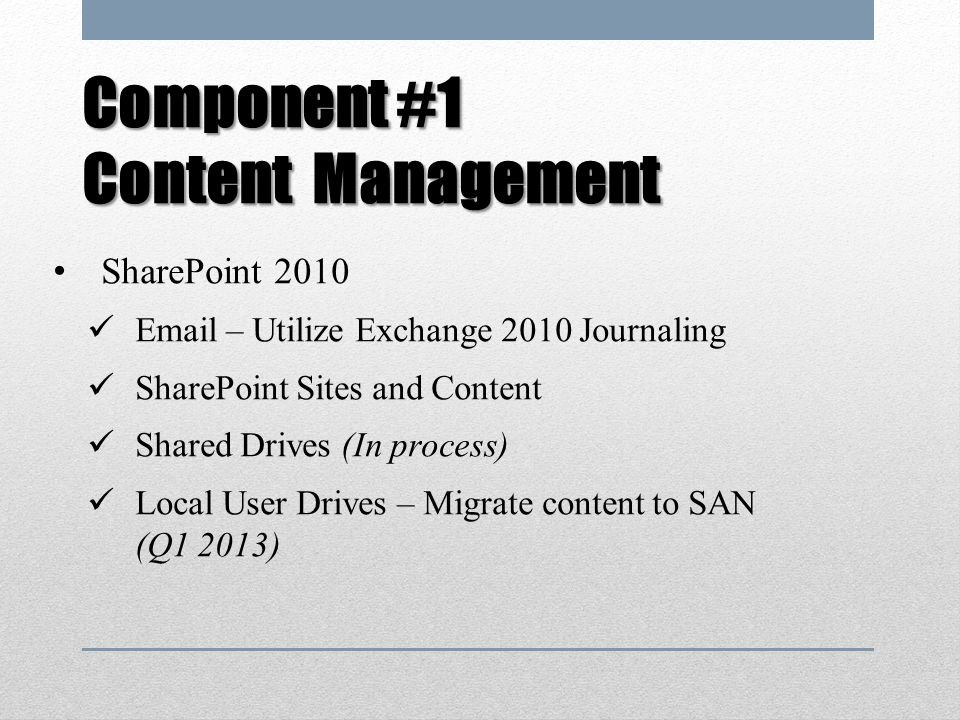 Component #1 Content Management