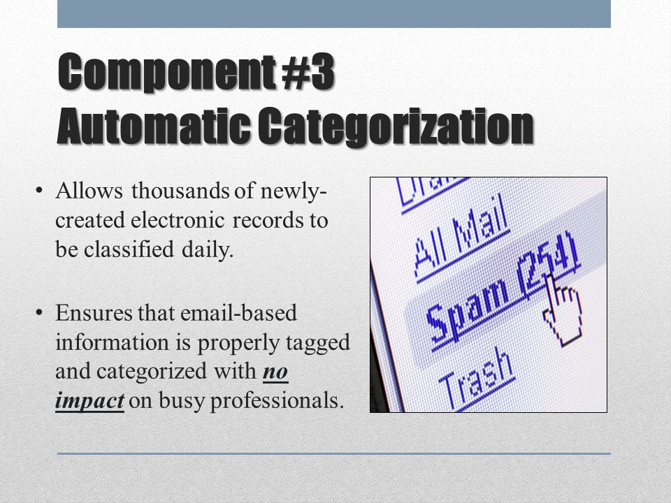 Component #3 Automatic Categorization