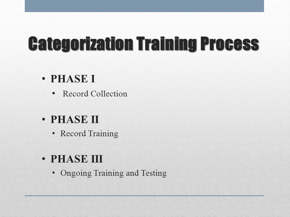 Categorization Training Process