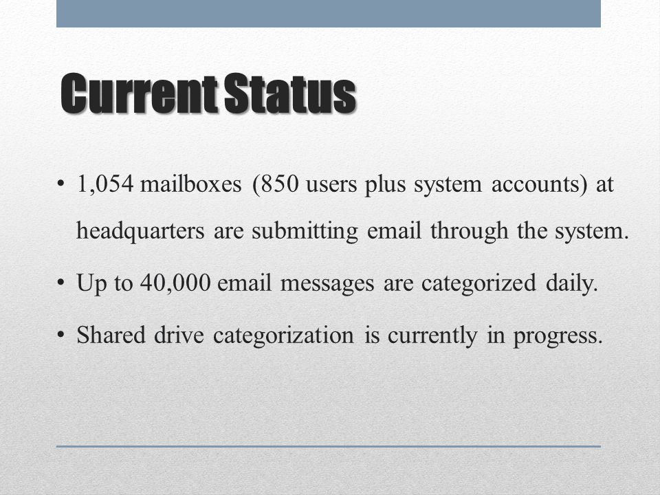 Current Status 1,054 mailboxes (850 users plus system accounts) at headquarters are submitting email through the system.