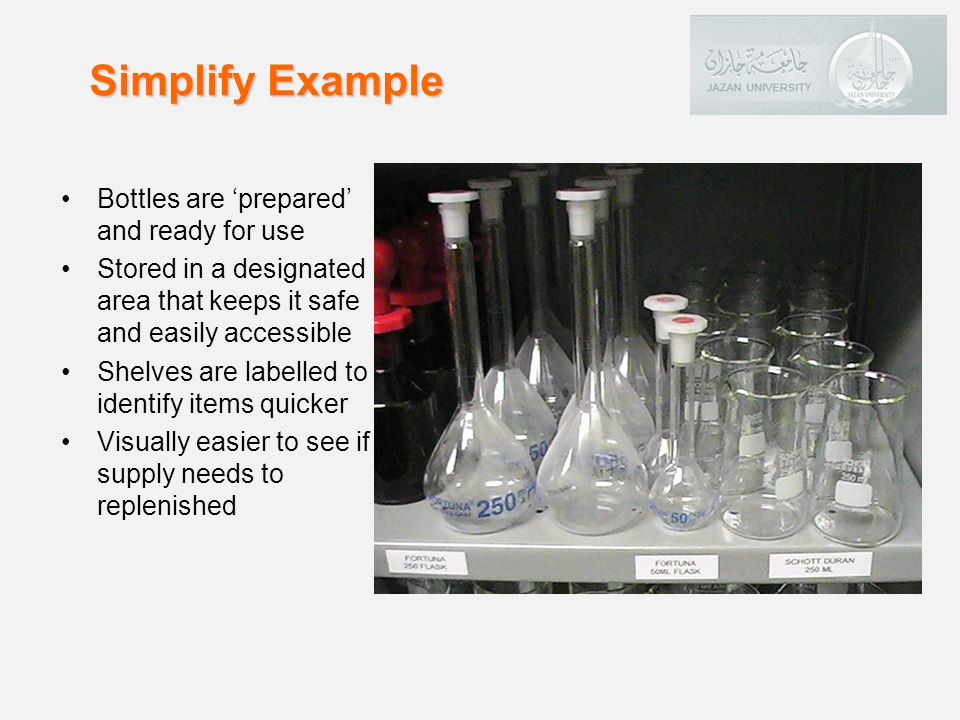 Simplify Example Bottles are 'prepared' and ready for use
