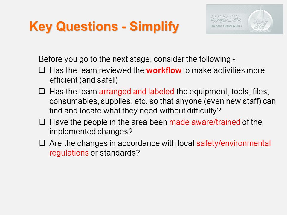 Key Questions - Simplify