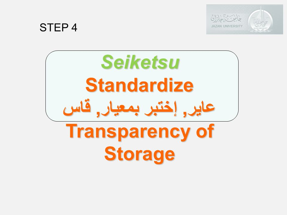 Standardize عاير, إختبر بمعيار, قاس Transparency of Storage
