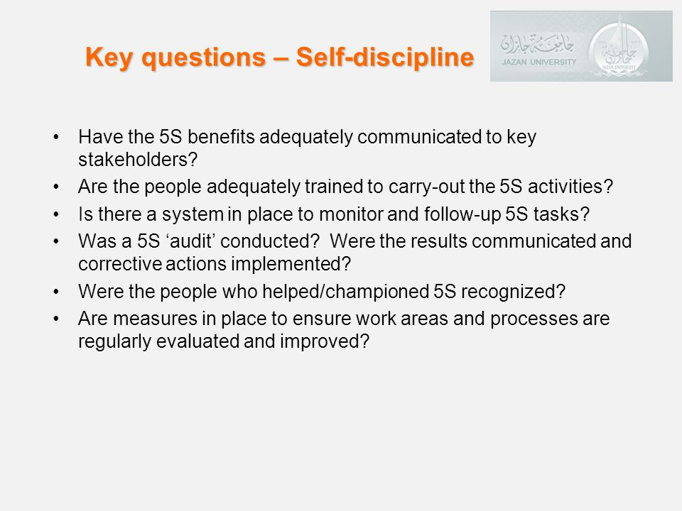 Key questions – Self-discipline