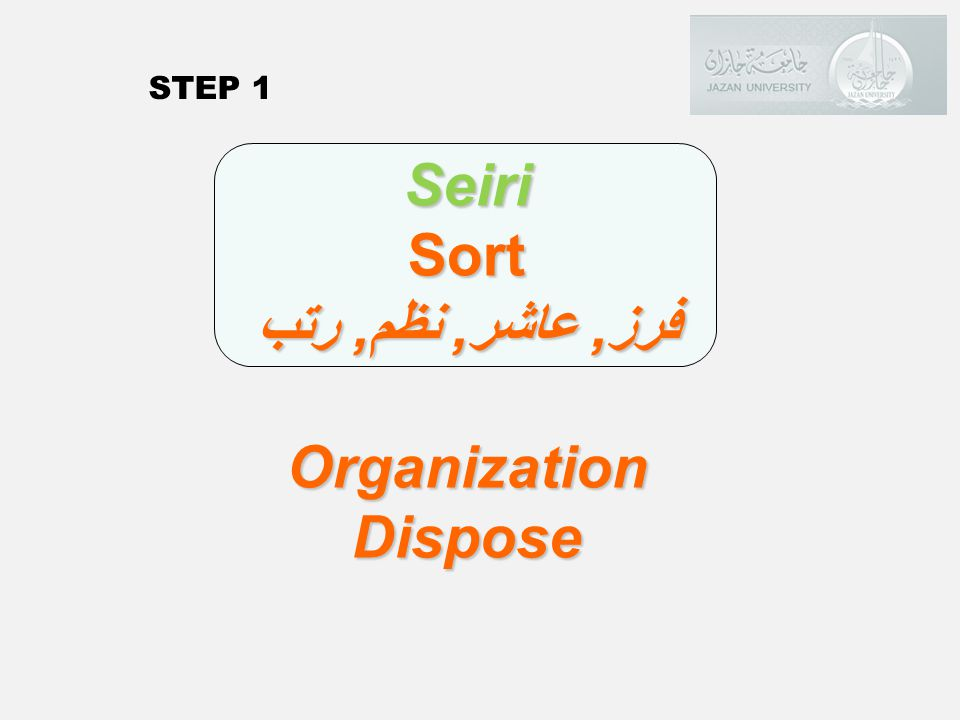 Seiri Sort فرز, عاشر, نظم, رتب Organization Dispose