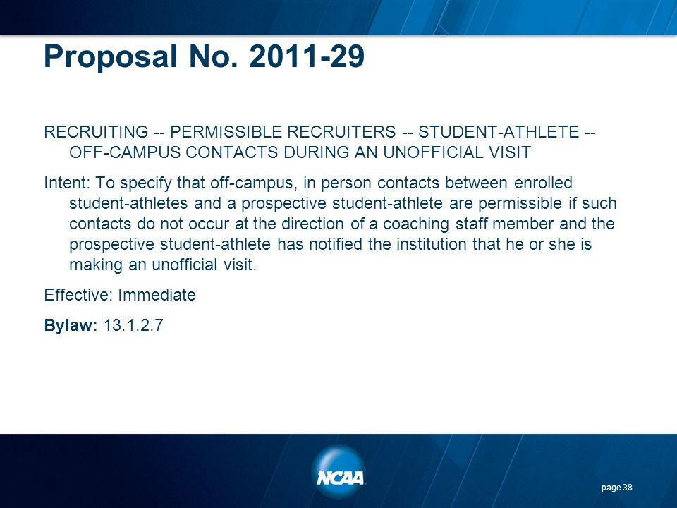 Proposal No. 2011-29 RECRUITING -- PERMISSIBLE RECRUITERS -- STUDENT-ATHLETE -- OFF-CAMPUS CONTACTS DURING AN UNOFFICIAL VISIT.