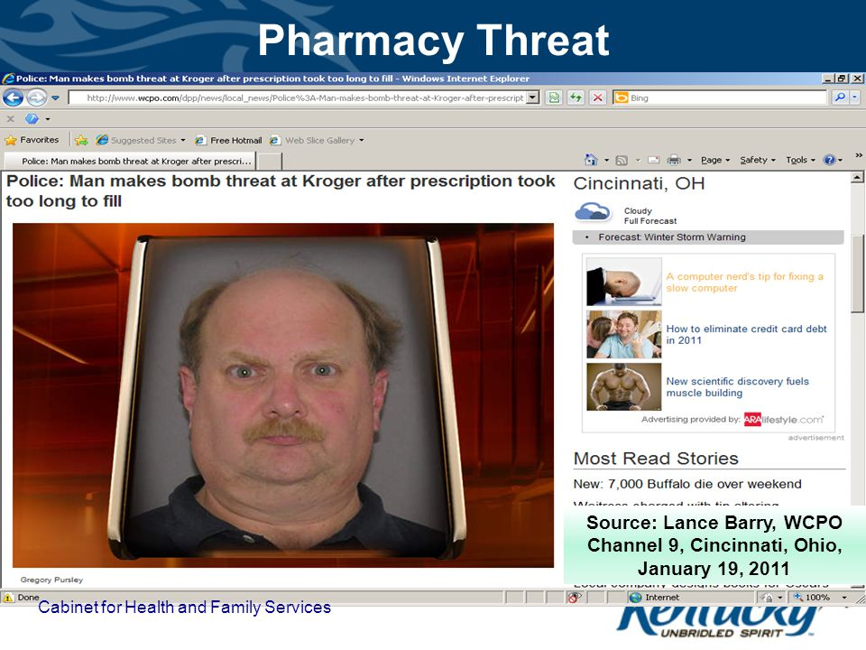 Pharmacy Threat Source: Lance Barry, WCPO Channel 9, Cincinnati, Ohio, January 19, 2011.