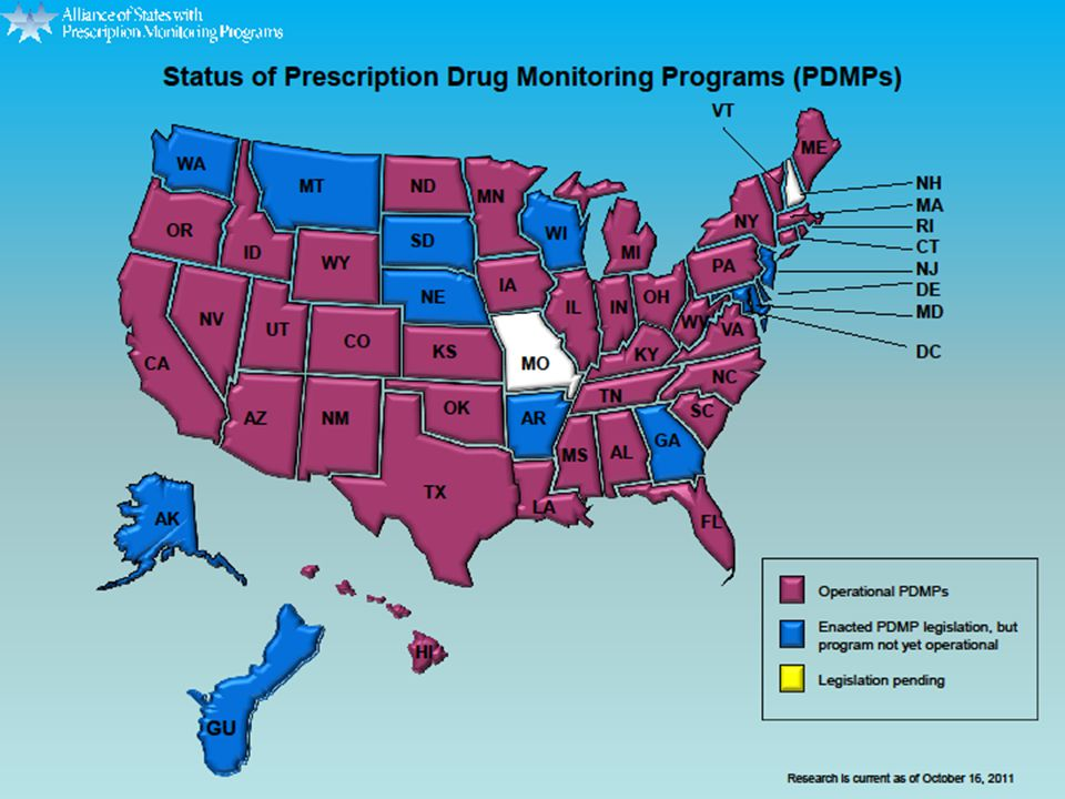 States With Prescription Monitoring Programs