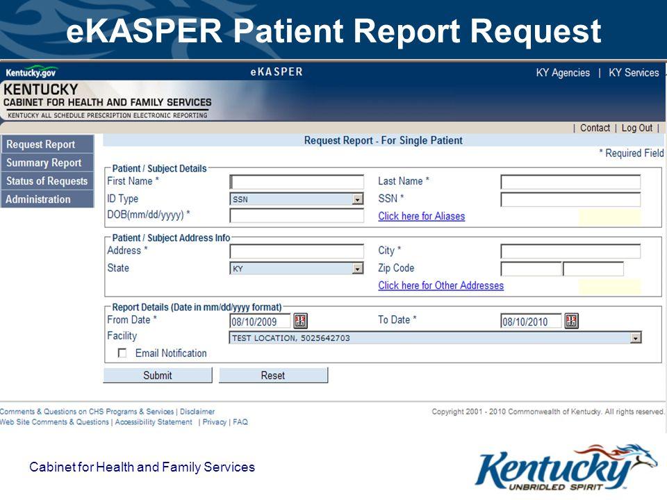 eKASPER Patient Report Request