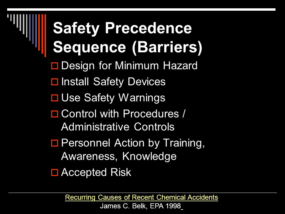 Safety Precedence Sequence (Barriers)