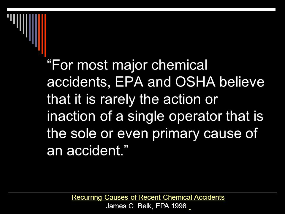 Recurring Causes of Recent Chemical Accidents