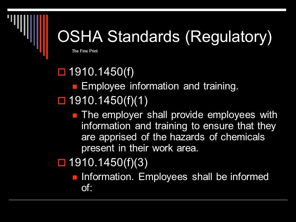 OSHA Standards (Regulatory)