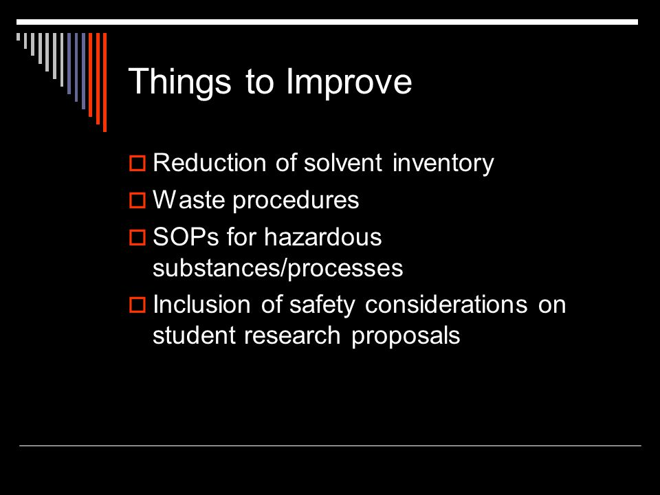 Things to Improve Reduction of solvent inventory Waste procedures