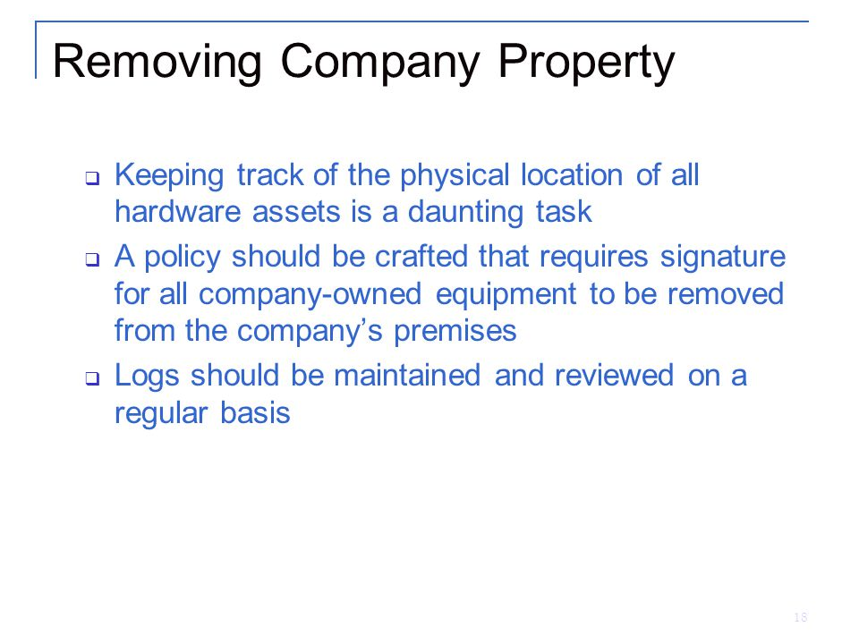 Removing Company Property