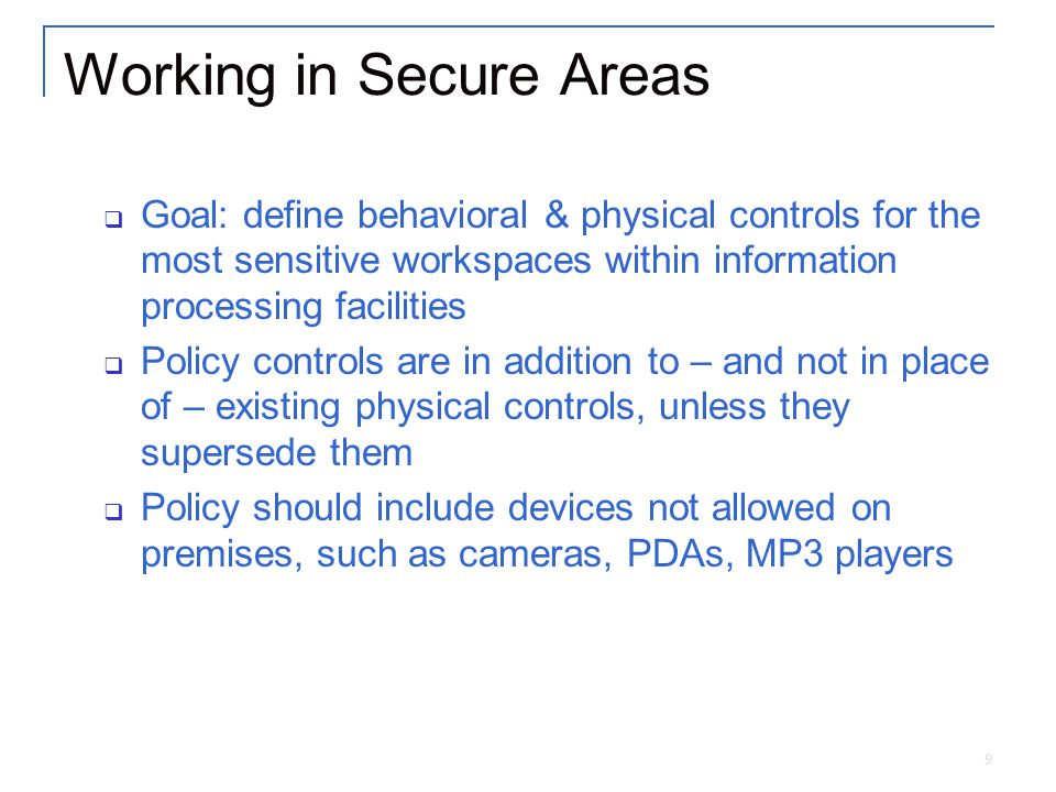 Working in Secure Areas