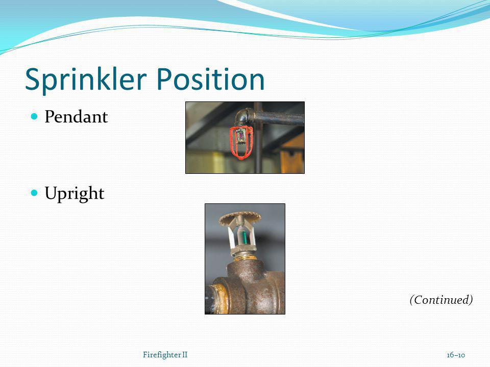 Sprinkler Position Pendant Upright (Continued) Firefighter II