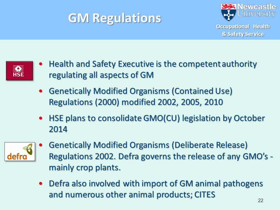 GM Regulations Health and Safety Executive is the competent authority regulating all aspects of GM.