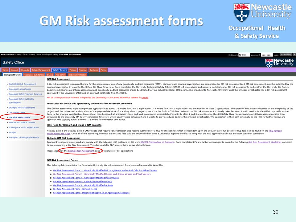 GM Risk assessment forms