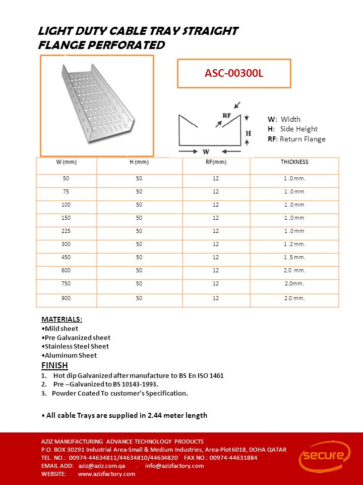 LIGHT DUTY CABLE TRAY STRAIGHT FLANGE PERFORATED