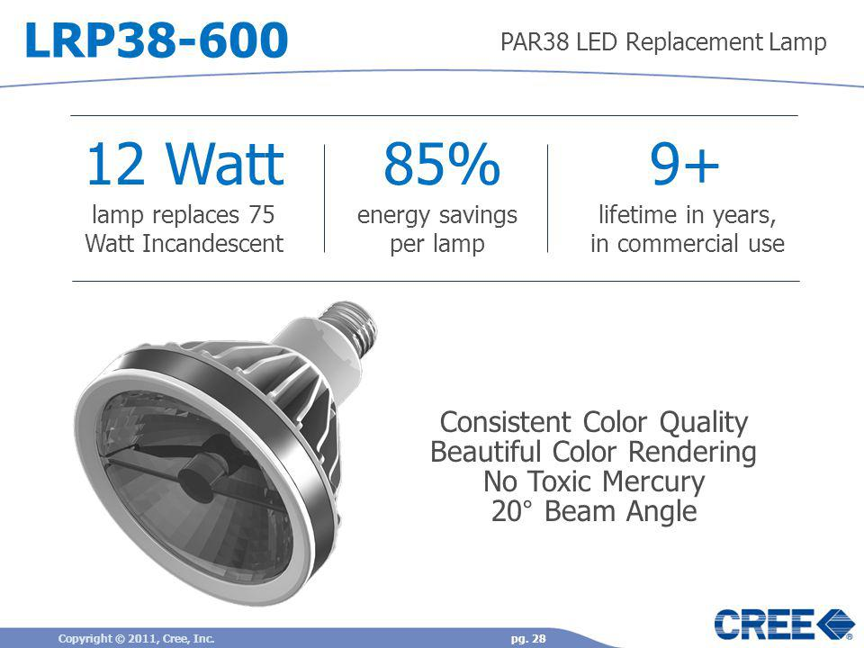 12 Watt 85% 9+ LRP38-600 Consistent Color Quality