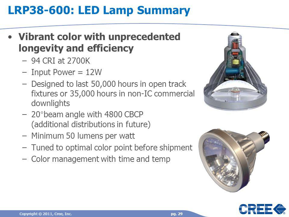 LRP38-600: LED Lamp Summary Vibrant color with unprecedented longevity and efficiency. 94 CRI at 2700K.