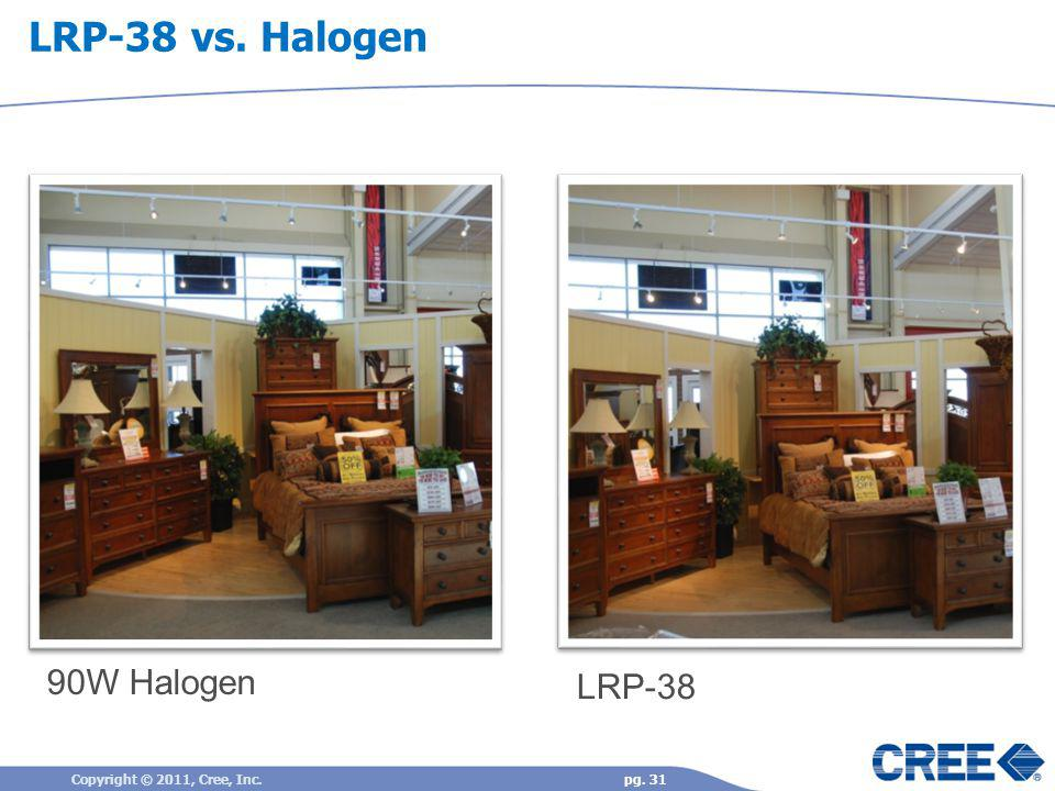 LRP-38 vs. Halogen 90W Halogen LRP-38 Copyright © 2011, Cree, Inc.