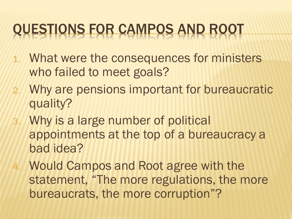 Questions for Campos and Root