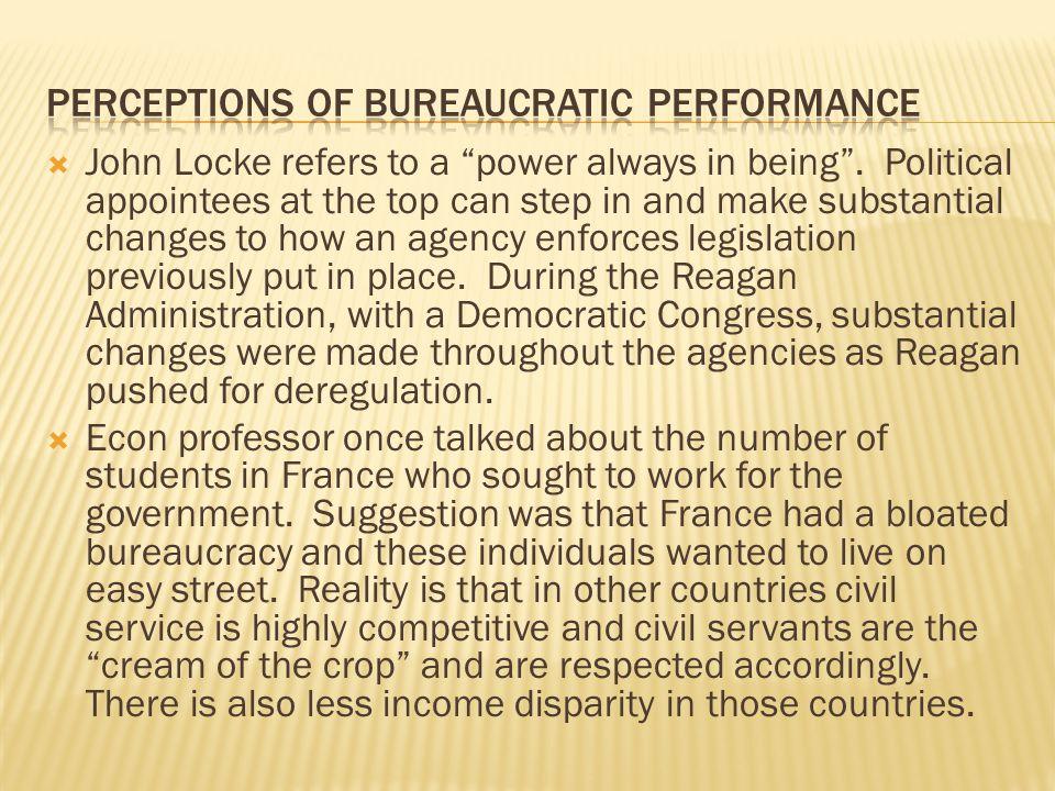 Perceptions of bureaucratic performance