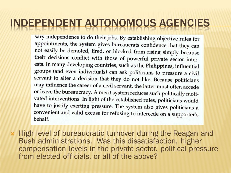 Independent autonomous agencies