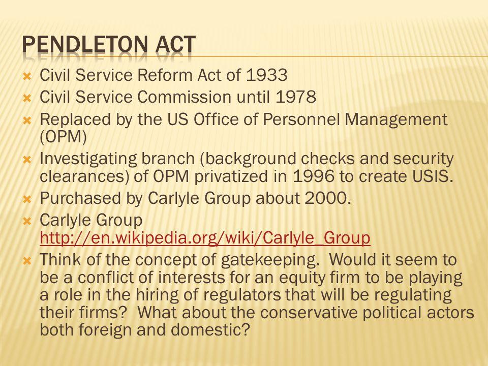 Pendleton ACT Civil Service Reform Act of 1933