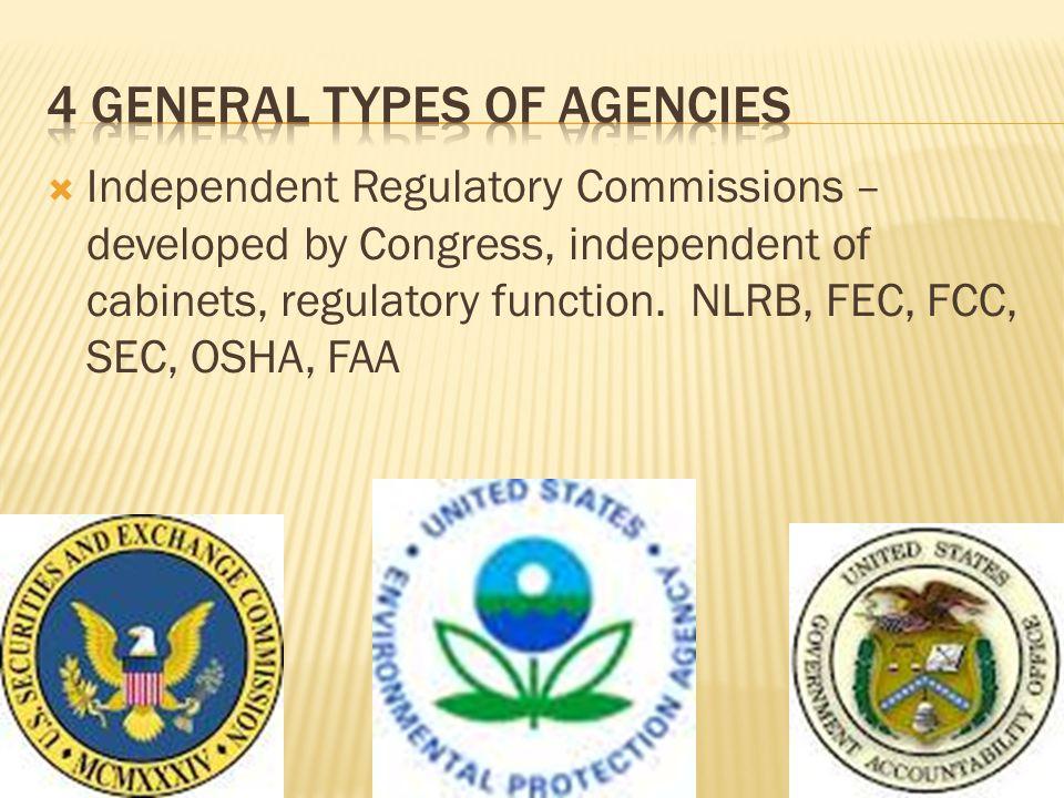 4 general types of agencies