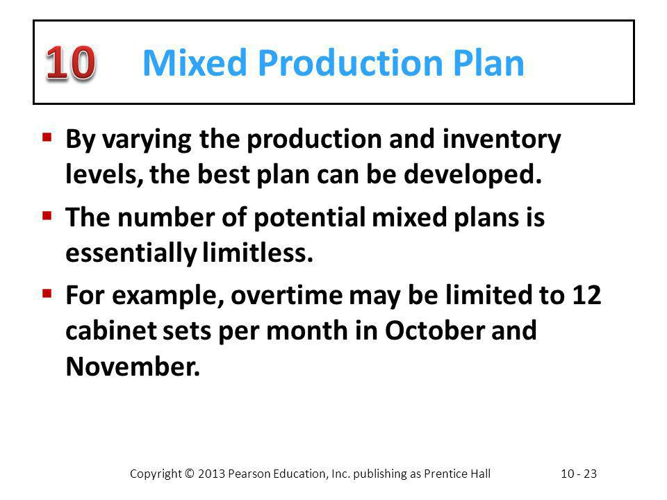 Mixed Production Plan By varying the production and inventory levels, the best plan can be developed.