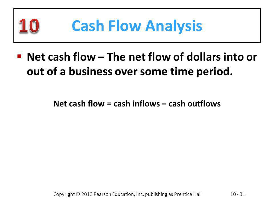 Net cash flow = cash inflows – cash outflows