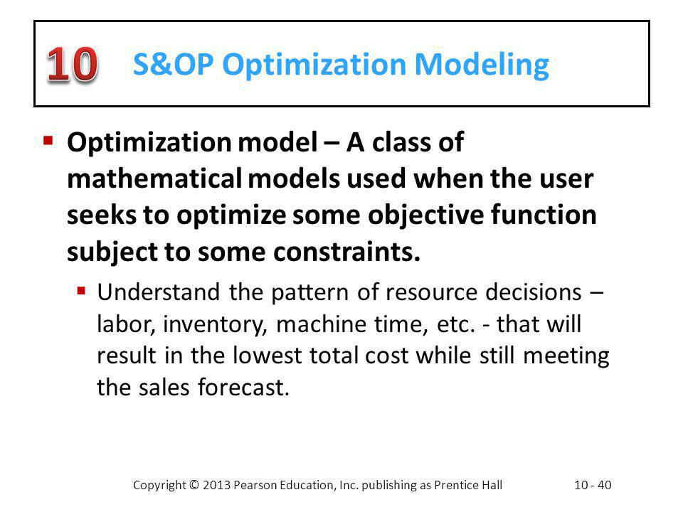 S&OP Optimization Modeling