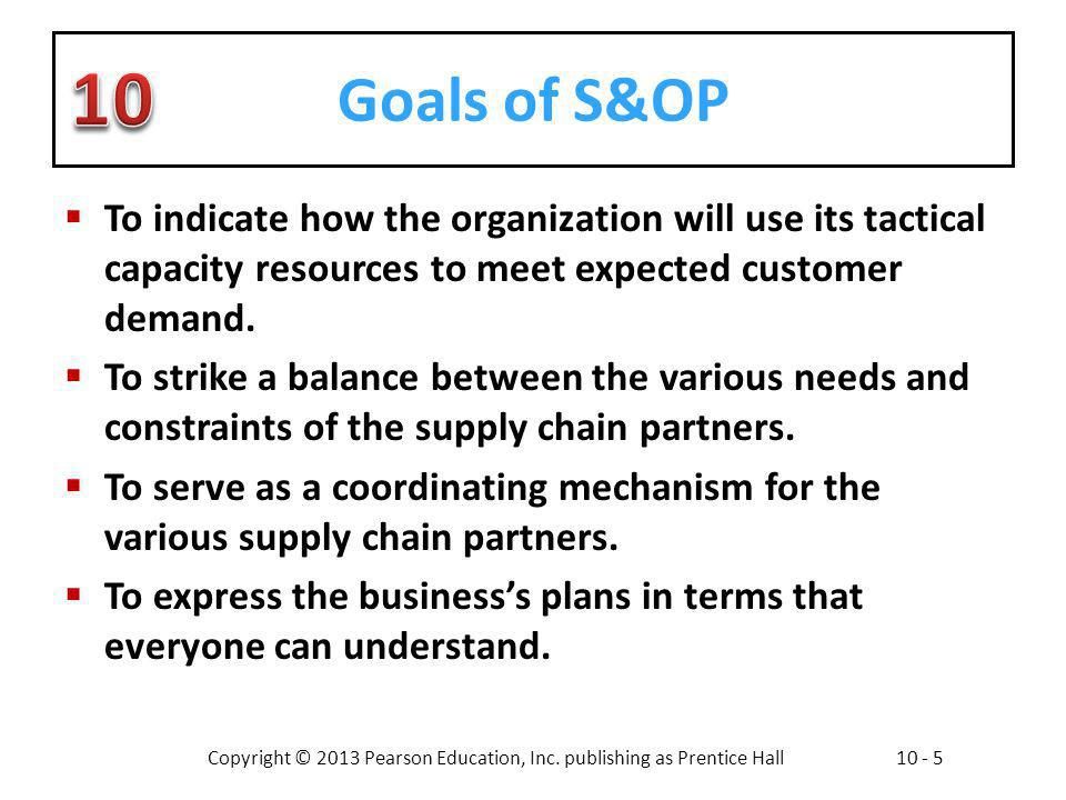 Goals of S&OP To indicate how the organization will use its tactical capacity resources to meet expected customer demand.