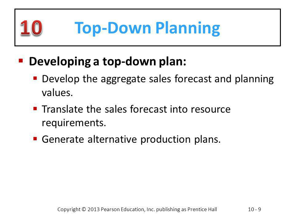 Top-Down Planning Developing a top-down plan: