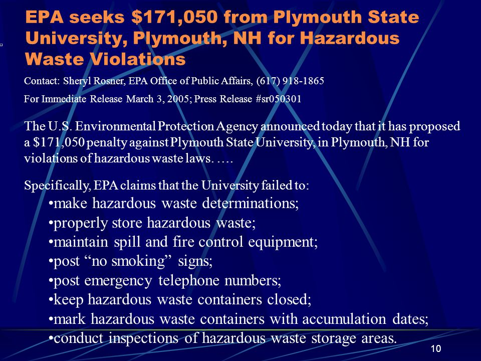 EPA seeks $171,050 from Plymouth State University, Plymouth, NH for Hazardous Waste Violations