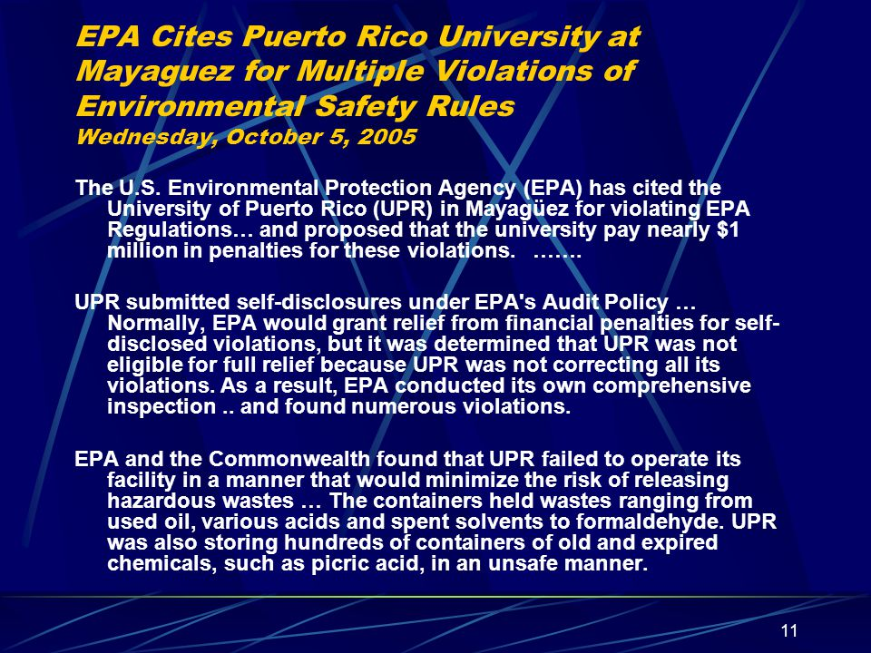 EPA Cites Puerto Rico University at Mayaguez for Multiple Violations of Environmental Safety Rules Wednesday, October 5, 2005