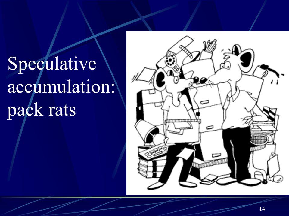 Speculative accumulation: pack rats