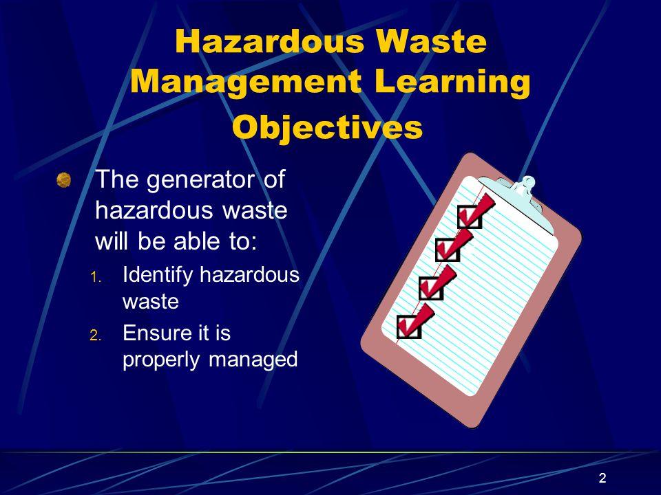 Hazardous Waste Management Learning Objectives